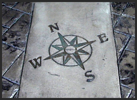 traditiona concrete stamping - ashlar slate compass inset